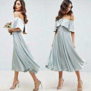 NWT ASOS Wedding Bardot Fold Midi Dress